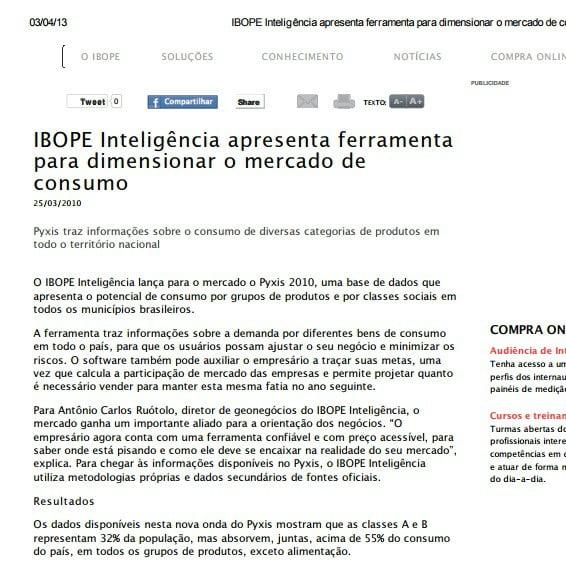 Foto de uma matéria: IBOPE Inteligência apresenta ferramenta para dimensionar o mercado de consumo.