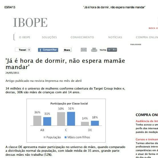 Foto de uma matéria do IBOPE: 'Já é hora de dormir, não espera mamãe mandar'