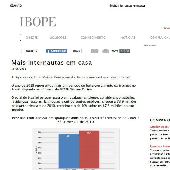 Foto de uma matéria do IBOPE: Mais internautas em casa.