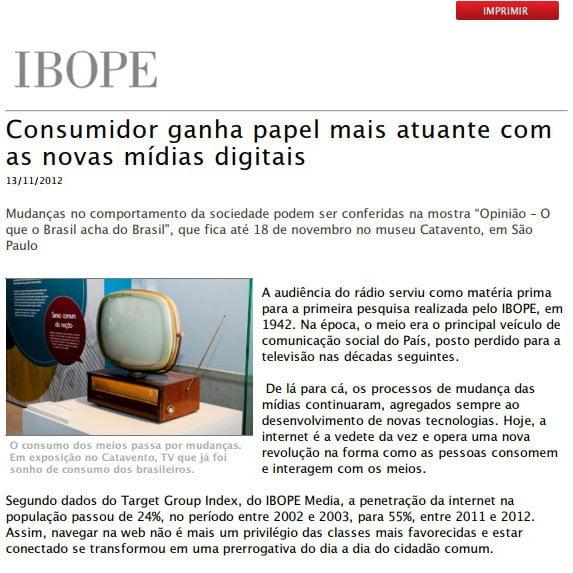 """Foto de uma matéria da IBOPE: """"Consumidor ganha papel mais atuante com as novas mídias digitais""""."""