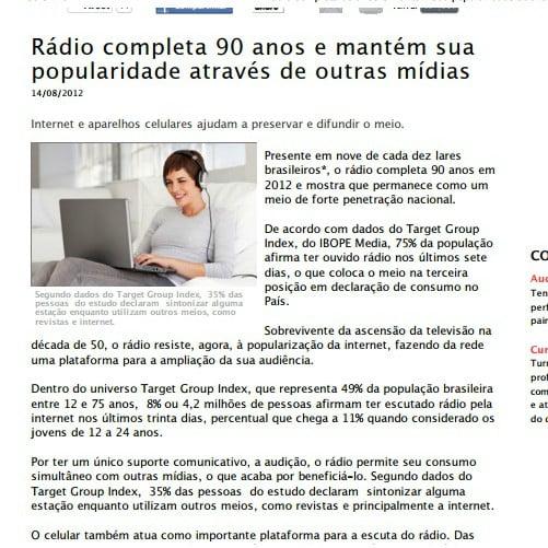 Foto de uma matéria: Rádio completa 90 anos e mantém sua popularidade através de outras mídias.