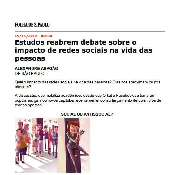 Foto de matéria da Folha de S.Paulo: Estudos reabrem debate sobre o impacto de redes sociais na vida das pessoas.