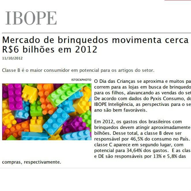 """Foto de uma matéria da IBOPE: """"Mercado de brinquedos movimenta cerca de seis bilhões de reais em 2012""""."""