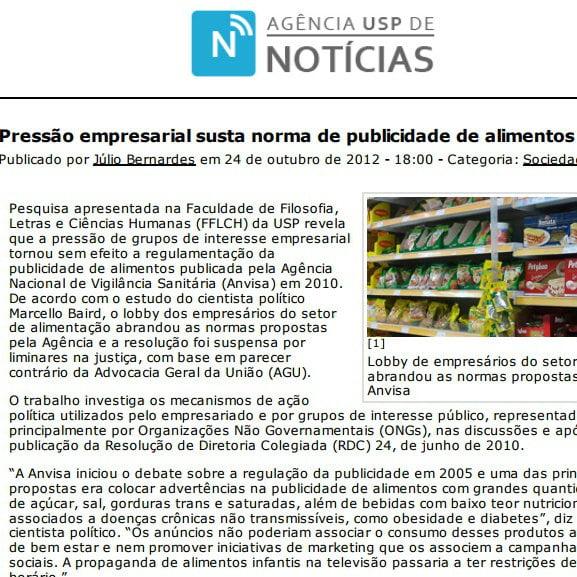 Foto de uma matéria Agência U S P de notícias: Pressão empresarial susta norma de publicidade de alimentos.