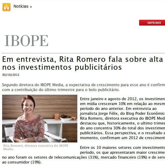 """Foto de uma matéria da IBOPE: """"Em entrevista, Rita Romero fala sobre alta nos investimentos publicitários""""."""