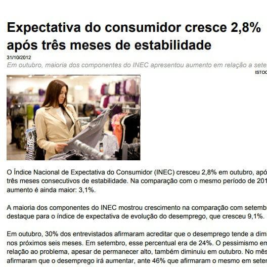 Imagem de uma matéria: Expectativa do consumidor cresce 2,8 porcento após três meses de estabilidade.