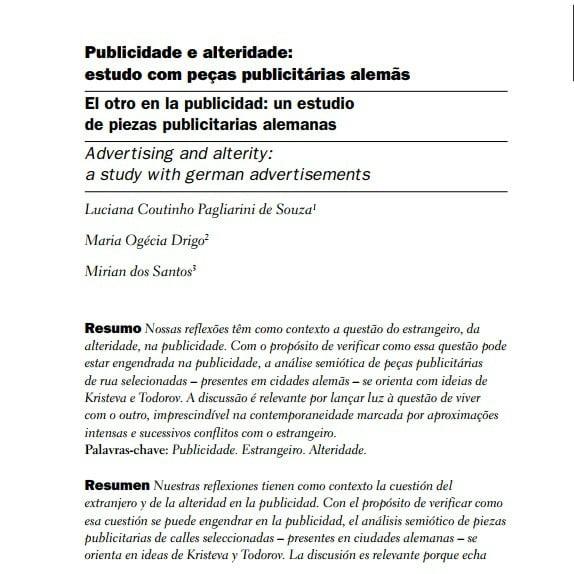 Capa do documento: Publicidade e alteridade: estudo com peças publicitárias alemãs.