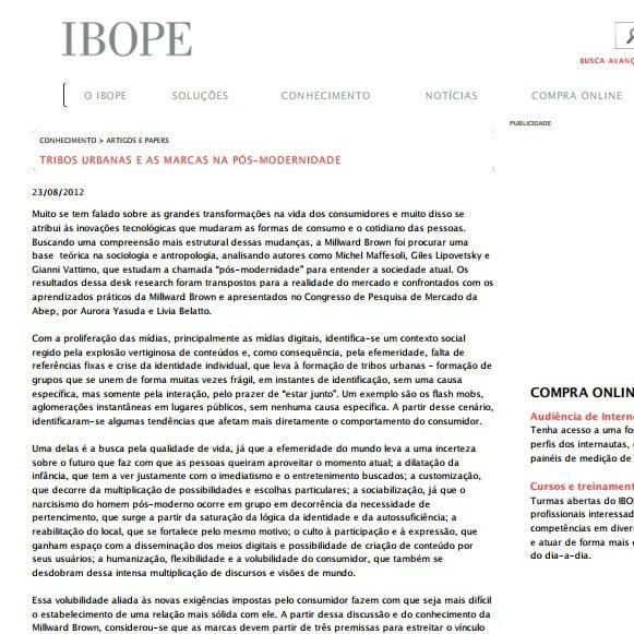Imagem de matéria IBOPE: Tribos urbanas e as marcas na pós-modernidade.