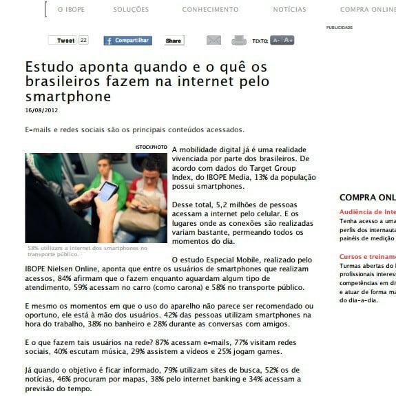 Imagem de uma matéria: Estudo aponta quando e o quê os brasileiros fazem na internet pelo smartphone.