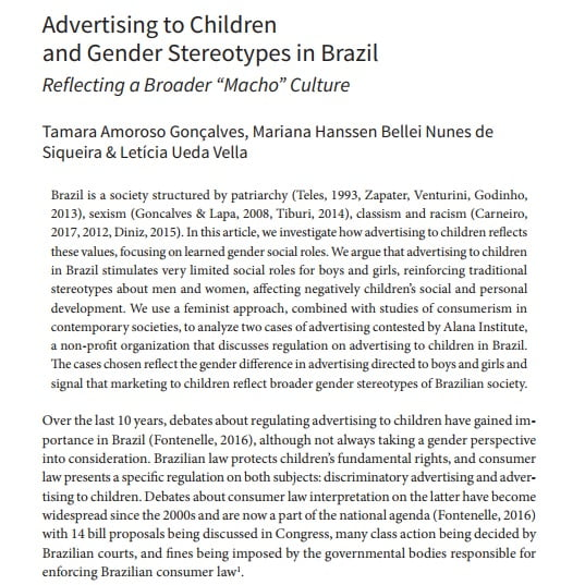 Página de um texto em inglês: Advertising to Children and Gender Stereotypes in Brazil.