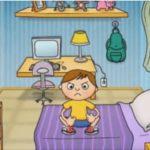 Desenho de uma criança em um quarto, em cima da cama ele está enfurecido.