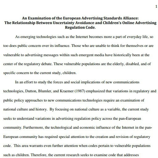 Capa do documentos em inglês: An Examination of the European Advertising Standards Alliance: The Relationship Between Uncertainty Avoidance and Children's Online Advertising Regulation Code.