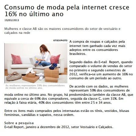 Foto de matéria: Consumo de moda pela internet cresce 16% no último ano.