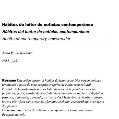 Capa do documento: Hábitos de leitor de notícias contemporâneo.