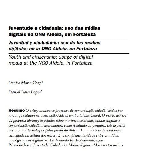 Capa do documento: Juventude e cidadania: uso das mídias digitais na ONG Aldeia, em Fortaleza.