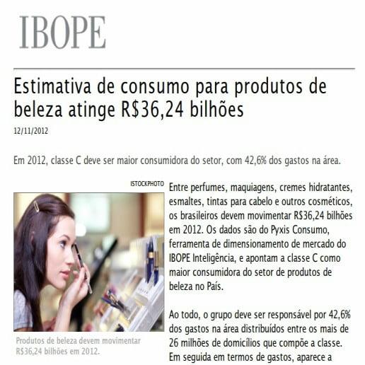 Imagem de página matéria IBOPE: Estimativa de consumo para produtos de beleza atinge trinta e seis bilhões de reais e vinte e quatro centavos.