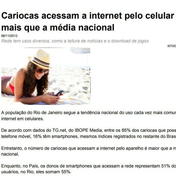 Foto de uma página de matéria: Cariocas acessa a internet pelo celular mais que a média nacional.