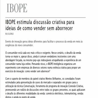 Imagem matéria IBOPE: IBOPE estimula discussão criativa para ideias de como vender sem aborrecer.