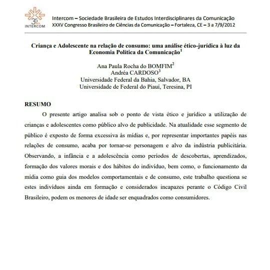 Imagem da primeira página do artigo: Crianças e Adolescentes na relação de consumo: uma análise ético-jurídica à luz da Economia Política da Comunicação.