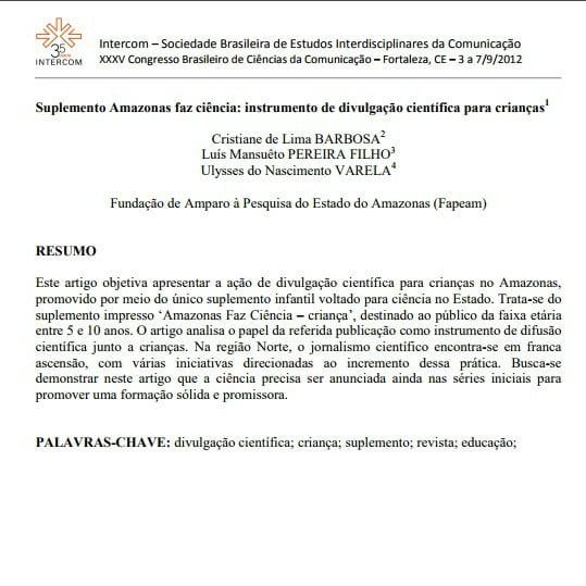 Imagem da primeira página do artigo: Suplemento Amazonas faz ciência: instrumento de divulgação científica para crianças.