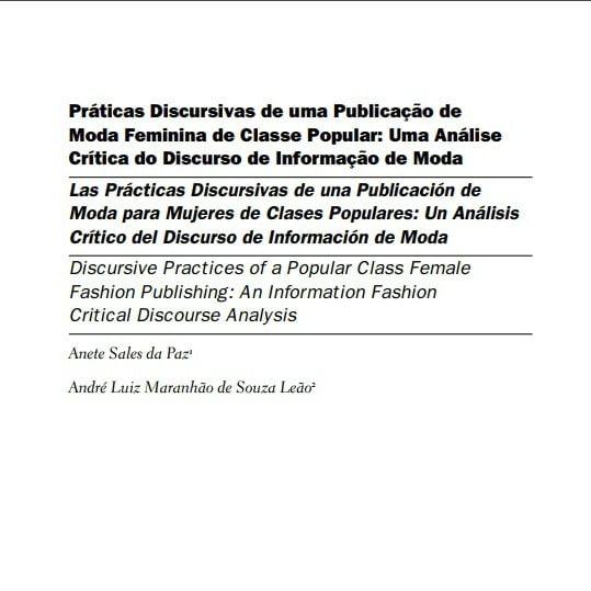Capa do documento: Práticas Discursivas de uma Publicação de Moda Feminina de Classe Popular: Uma Análise Crítica do Discurso de Informação de Moda.