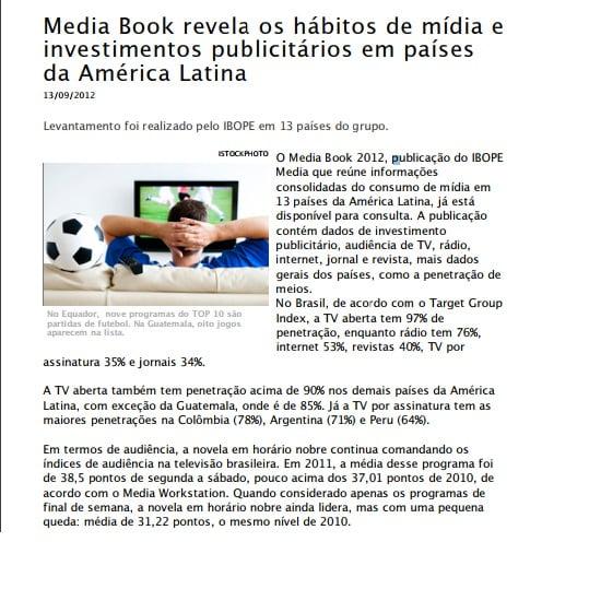 Imagem de uma matéria: Media book revela os hábitos de mídia e investimentos publicitários em países da América Latina.