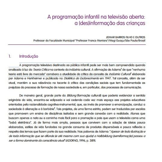 """Capa de um projeto: """"A programação infantil na televisão aberta: a (des)informação das crianças""""."""