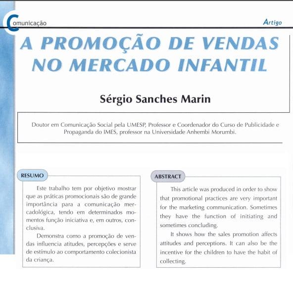 """Capa de um projeto: """"A promoção de vendas no mercado infantil""""."""