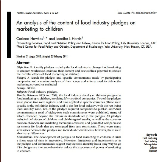 Capa do texto em inglês: An analysis of the content of food industry pledges onmarketing to children.
