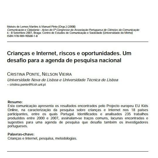 Capa do documento Criança e Internet, riscos e oportunidade. Um desafio para a agenda de pesquisa nacional.