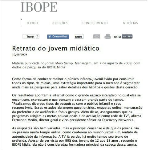 Capa da matéria IBOPE: Retrato do jovem midiático.