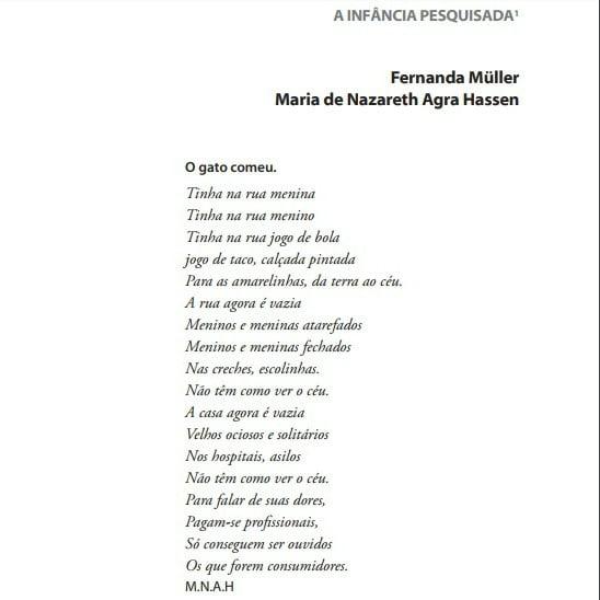Capa do documento: A infância pesquisada. De Fernanda Müller e Maria de Nazareth Agra Hassen.