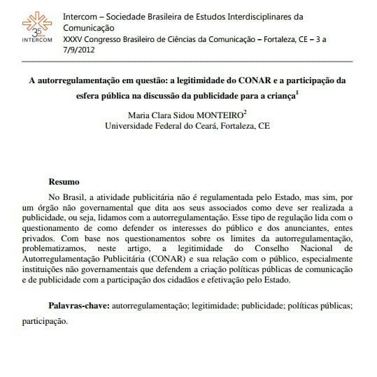 Imagem da primeira página do artigo: A autorregulamentação em questão: a legitimidade do CONAR e a participação da esfera pública na discussão da publicidade para criança.