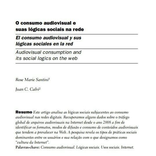 Capa do documento: O consumo audiovisual e suas lógicas sociais na rede.