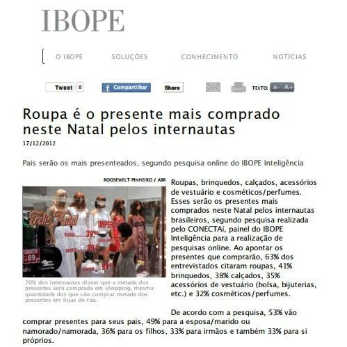 Imagem de página matéria IBOPE: Roupa é o presente mais comprado neste Natal pelos internautas.