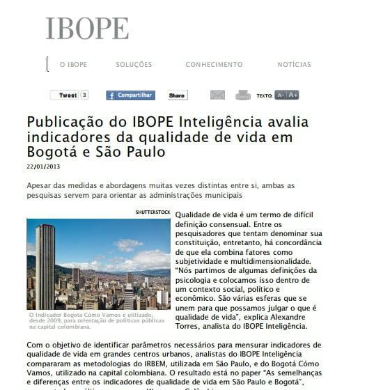 Capa matéria IBOPE: Publicação do IBOPE inteligência avalia indicadores da quantidade de vida em Bogotá e São Paulo.