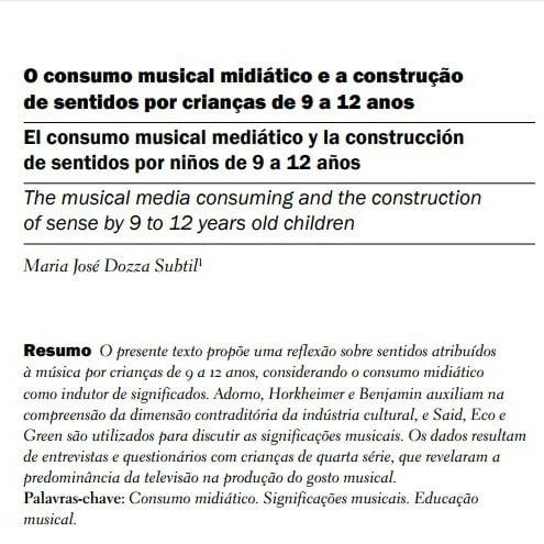 Capa do documento: O consumo musical midiático e a construção de sentidos por crianças de 9 a 12 anos.