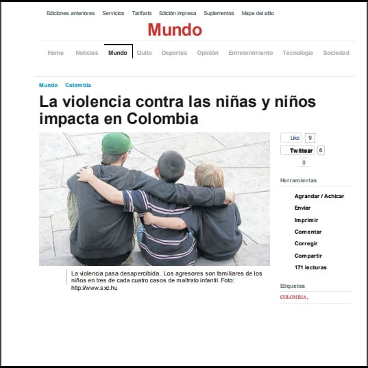 Foto de matéria em espanhol da página Mundo: La violencia contra las niñas y niños impacta en Colombia.