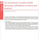 Foto do livro em inglês: An introduction to public health advocacy: reflections on theory and practice.