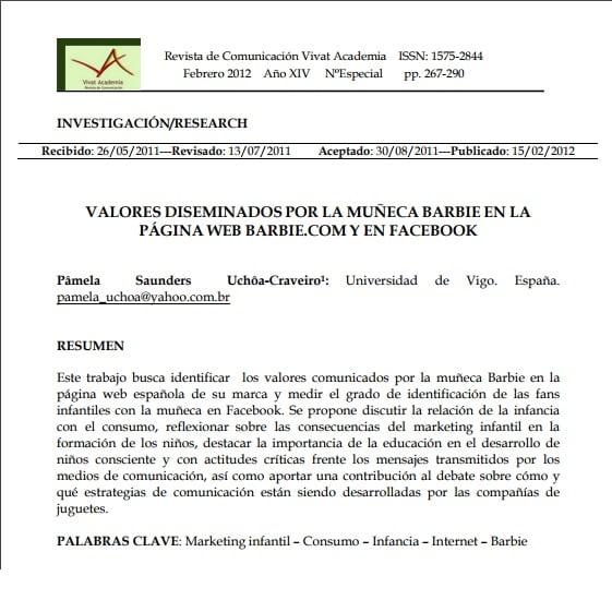 Primeira página do texto em espanhol: VALORES DISEMINADOS POR LA MUÑECA BARBIE EN LA PÁGINA WEB BARBIE.COM Y EN FACEBOOK.