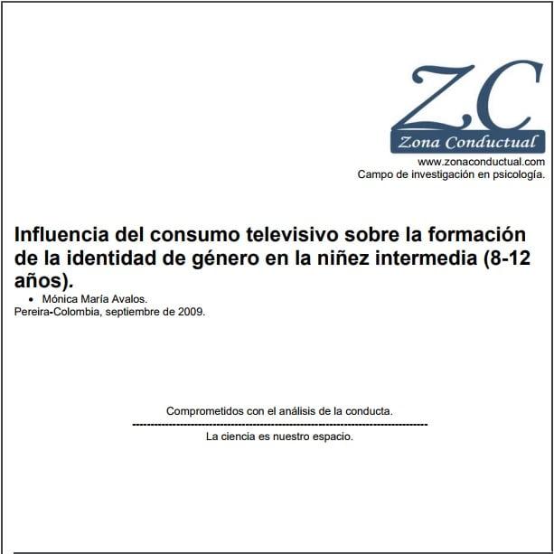 Capa em espanhol do informativo: Influencia del consumo televisivo sobre la formación de la identidad de género en la niñez intermedia (8-12 años).