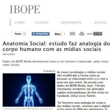 """Foto de uma matéria da IBOPE: """"Anatomia Social: estudo faz analogia do corpo humano com as mídias sociais""""."""