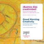"""Capa inglês e espanhol do livro: """"¡Buenos días creatividad!"""" """"Good Morning Creativity"""""""