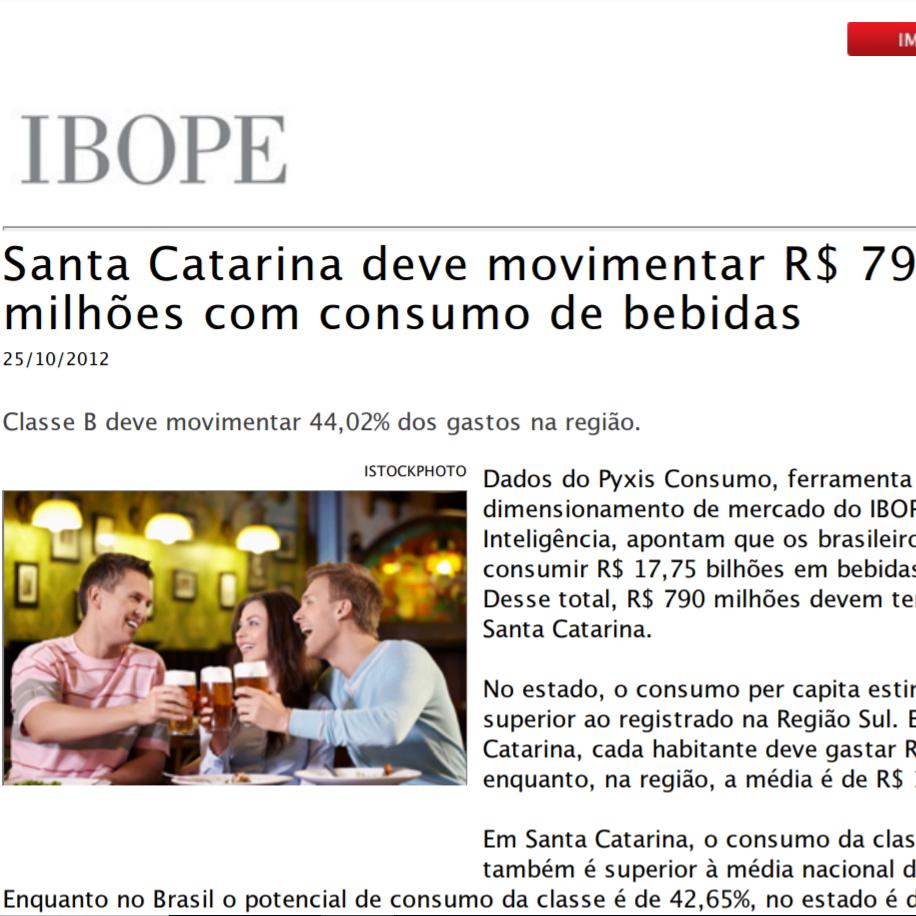 """Foto de uma matéria da IBOPE: """"Santa Catarina deve movimentar setenta e nove milhões de reais com consumo de bebidas"""""""