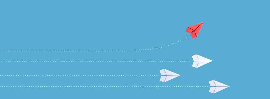 blue background with four paper planes, three white going in a straight line and one red going up