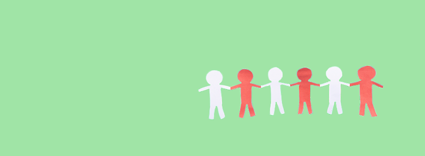 green background with six people made of paper holding hands