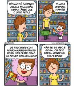 história em quadrinhos com quatro quadros em que uma mãe e um filho estão fazendo compras no mercado. no primeiro quadro, a mãe fala